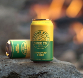 Hudson North Cider Co Standard Cider Can Image with campfire in background