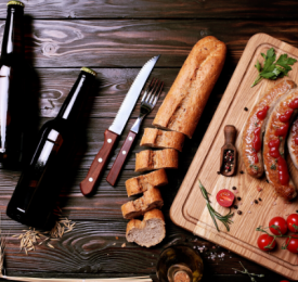 Food and beer on a wooden table