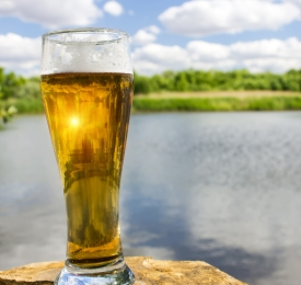 Beer besides a Lake