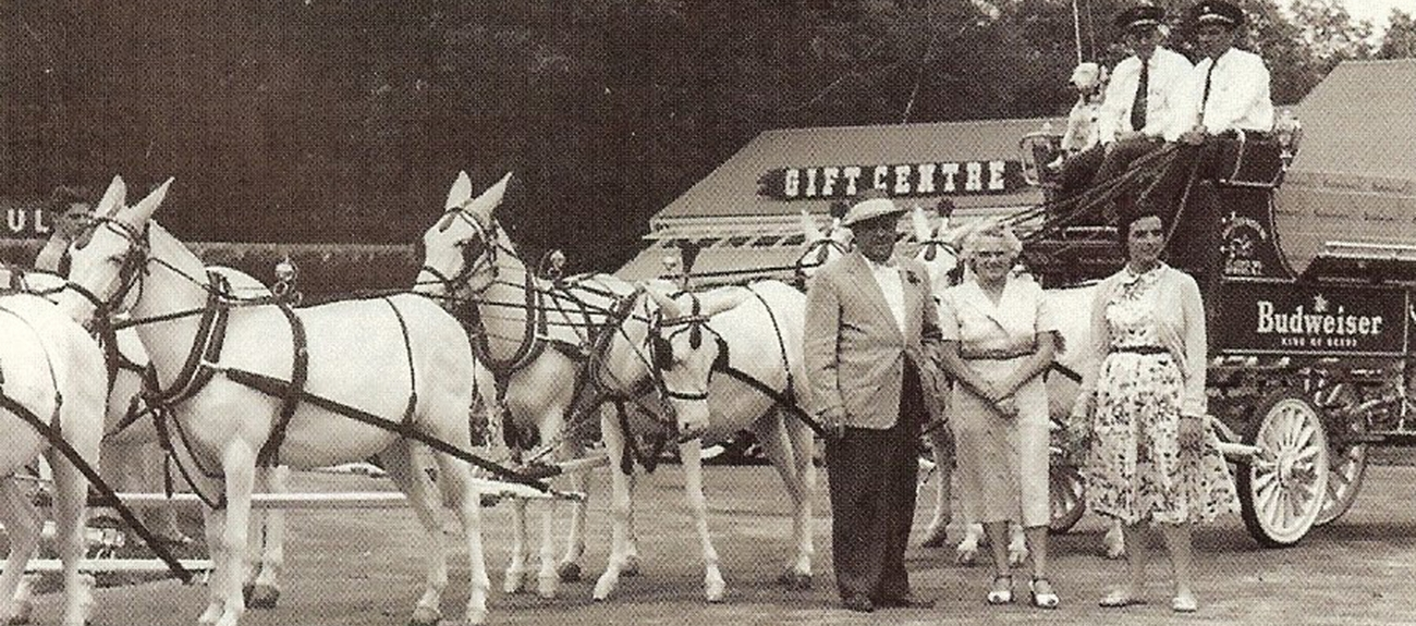 Cortelli family with Budweiser Mule wagon